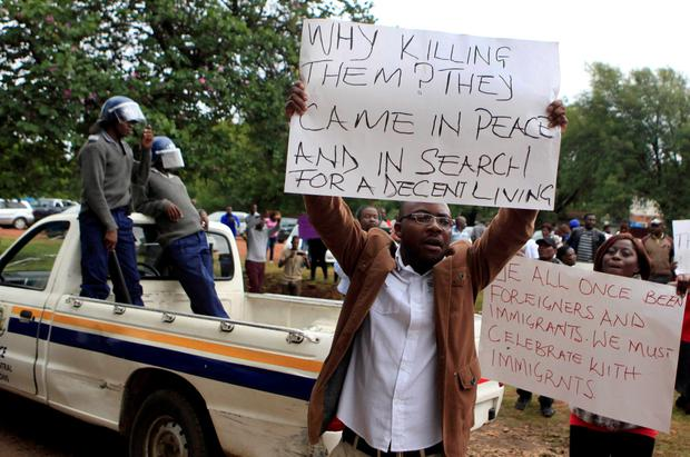 Zimbabweans hold a demonstration against recent anti-immigrant violence in South Africa outside the South African Embassy in Harare Credit: Philimon Bulawayo