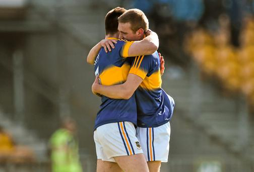 Tipperary's Jimmy Feehan, left, and Colm O'Shaughnessy celebrate their side's victory