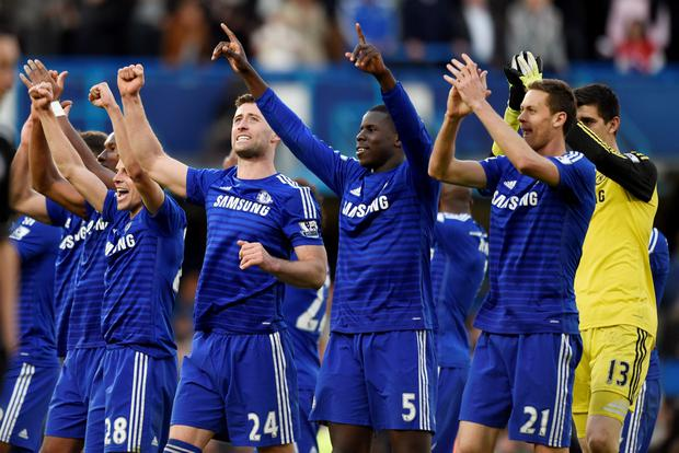 Chelsea's Cesar Azpilicueta, Gary Cahill, Kurt Zouma and Nemanja Matic celebrate at the end of the game Action Images via Reuters / Tony O'Brien Livepic EDITORIAL USE ONLY. No use with unauthorized audio, video, data, fixture lists, club/league logos or