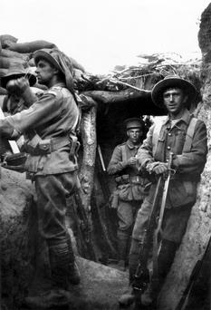 GALLIPOLI: Commonwealth soldiers take a moment's rest in the trenches before going over the top in August 1915