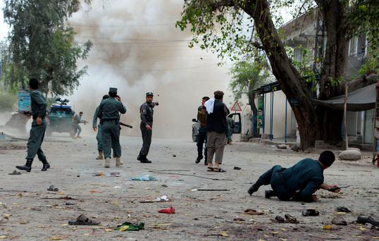 A suicide bomber killed at least 33 people and wounded 100 others in an attack on April 18 outside a bank in the eastern Afghan city of Jalalabad, provincial officials said (Getty Images)