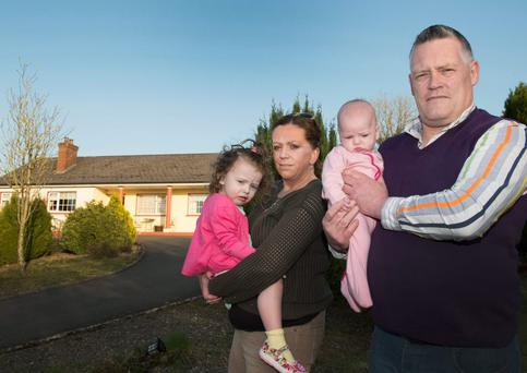 Brendan Beggan, Olivia Greene, Emily-Rose (2 1/2) and Ella (17 weeks) at their home in Scotstown Co.Monaghan. Picture by Philip Fitzpatrick.