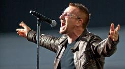 Bono performs on stage for the second night of U2's 360 Degrees World Tour in their home town at Croke Park on July 25, 2009