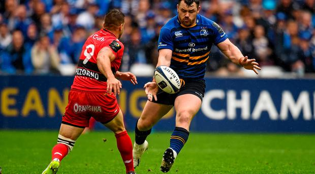 19 April 2015; Cian Healy, Leinster, in action against Sebastien Tillous-Borde, Toulon. European Rugby Champions Cup Semi-Final, RC Toulon v Leinster. Stade V?lodrome, Marseilles, France. Picture credit: Stephen McCarthy / SPORTSFILE
