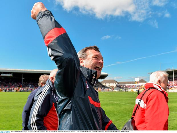 Cork manager Jimmy Barry-Murphy celebrates after the final whistle. Allianz Hurling League, Division 1 Semi-Final, Cork v Dublin. Nowlan Park, Kilkenny. Picture credit: Matt Browne / SPORTSFILE