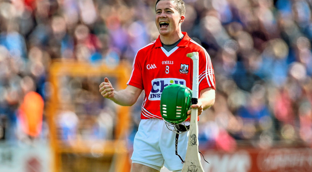 Cork's Daniel Kearney celebrates following his side's victory. Allianz Hurling League, Division 1 Semi-Final, Cork v Dublin. Nowlan Park, Kilkenny. Picture credit: Ramsey Cardy / SPORTSFILE
