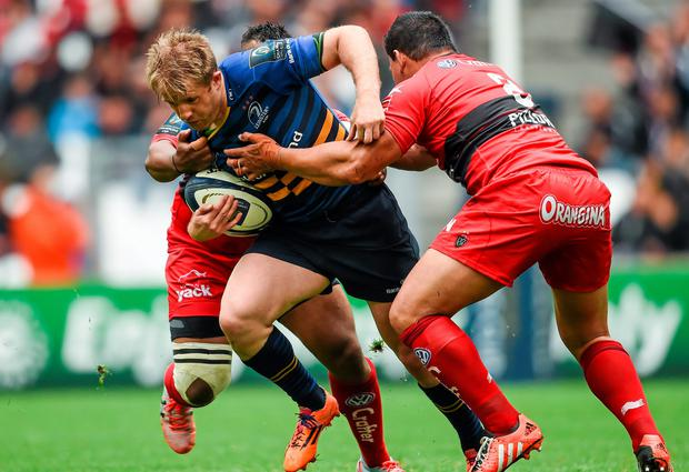 19 April 2015; Luke Fitzgerald, Leinster, is tackled by Chris Masoe, right, and Steffon Armitage, RC Toulon