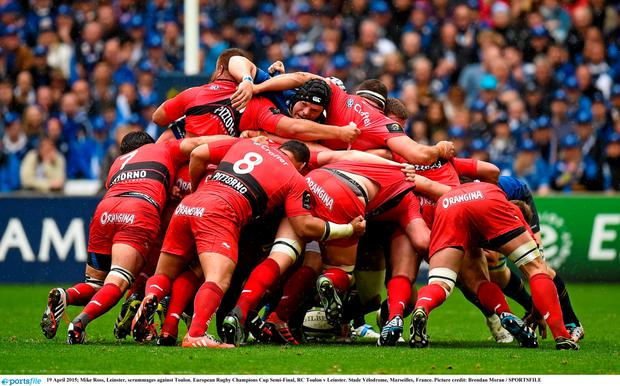 Mike Ross, Leinster, scrummages against Toulon. European Rugby Champions Cup Semi-Final, RC Toulon v Leinster. Stade V?lodrome, Marseilles, France. Picture credit: Brendan Moran / SPORTSFILE