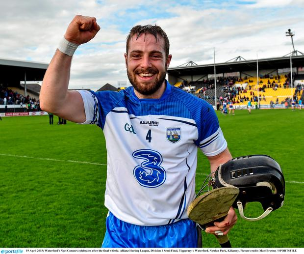 Waterford's Noel Connors celebrates after the final whistle. Allianz Hurling League, Division 1 Semi-Final, Tipperary v Waterford. Nowlan Park, Kilkenny. Picture credit: Matt Browne / SPORTSFILE