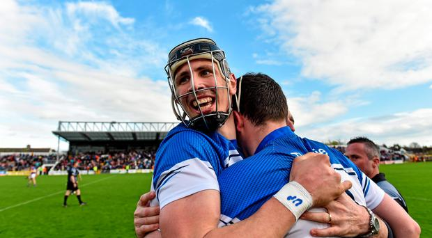 19 April 2015; Waterford's Maurice Shanahan celebrates after the final whistle with team-mates. Allianz Hurling League, Division 1 Semi-Final, Tipperary v Waterford. Nowlan Park, Kilkenny. Picture credit: Matt Browne / SPORTSFILE