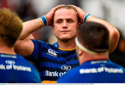 Leinster's Jamie Heaslip, dejected after his side's defeat