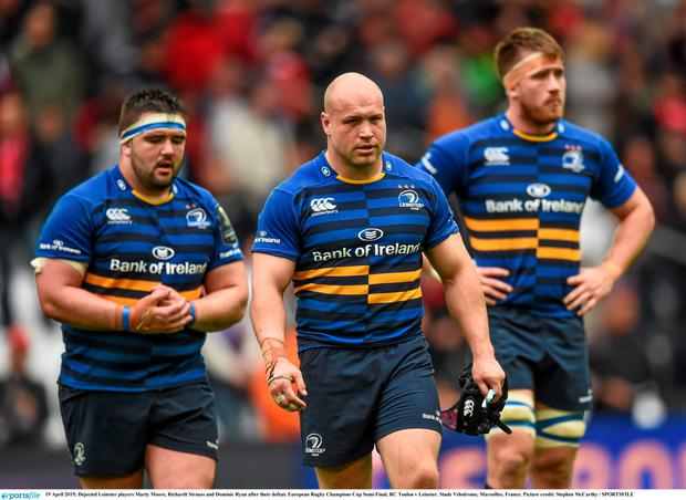 Dejected Leinster players Marty Moore, Richardt Strauss and Dominic Ryan after their defeat. European Rugby Champions Cup Semi-Final, RC Toulon v Leinster. Stade V?lodrome, Marseilles, France. Picture credit: Stephen McCarthy / SPORTSFILE