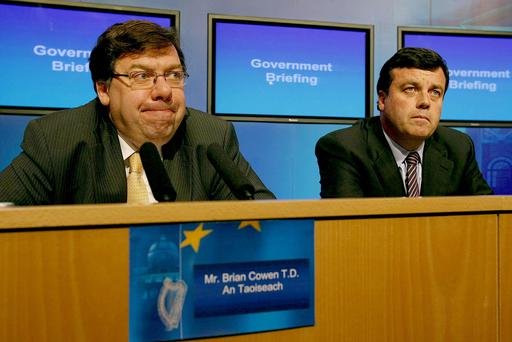 Former Taoiseach Brian Cowen and former finance minister Brian Lenihan