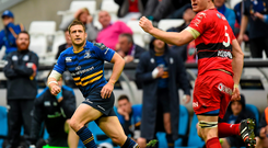 Jimmy Gopperth watches as his conversion comes back off the upright during Leinster's defeat to Toulon