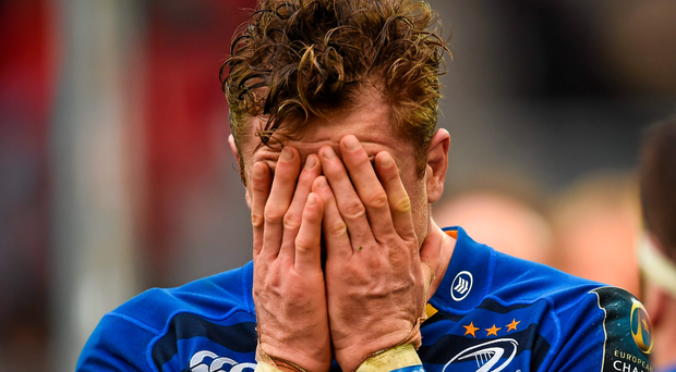 Jamie Heaslip shows his disappointment at the final whistle of yesterday's Champions Cup semi-final in Marseille