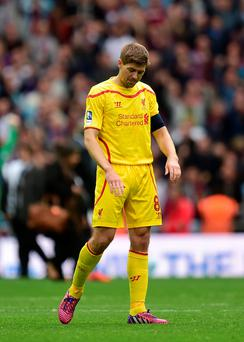 A dejected Steven Gerrard at Wembley