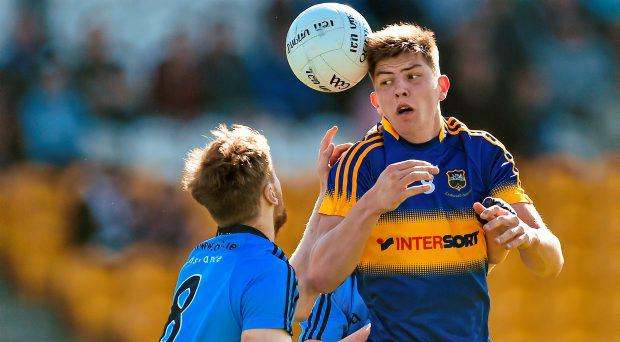 Steven O'Brien, Tipperary, in action against Stephen Cunningham, Dublin