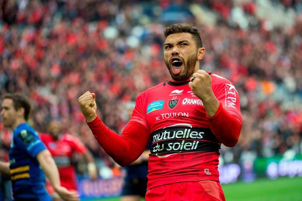 Toulon's winger Bryan Habana celebrates after scoring a try during the European Champions Cup rugby union semi final match between Toulon and Leinster