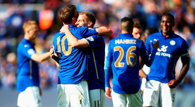 Andy King and Marc Albrighton of Leicester City celebrate after the Barclays Premier League match between Leicester City and Swansea City