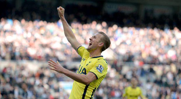 Tottenham Hotspur's Harry Kane celebrates scoring their third goal of the game