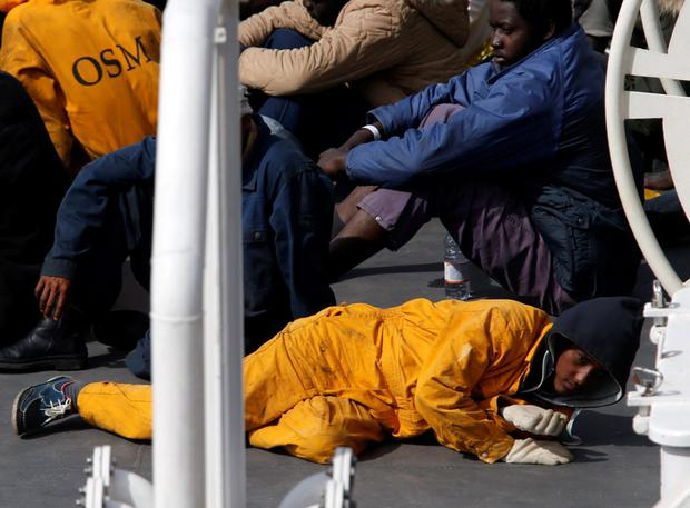 Surviving immigrants following another tragedy with Italian coastguard ship Bruno Gregoretti REUTERS/Darrin Zammit Lupi