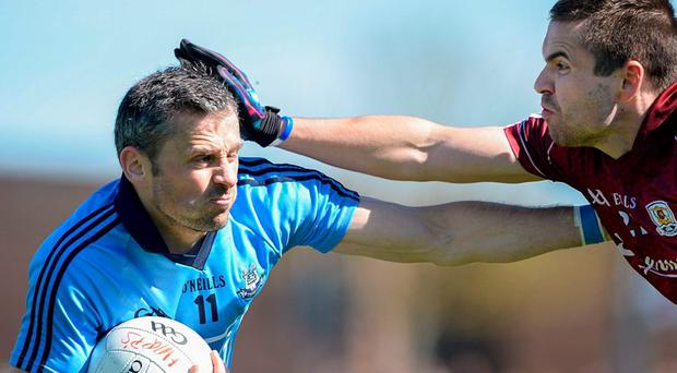 Alan Brogan, Dublin, in action against Cathal Sweeney, Galway. Senior Football Challenge, Dublin v Galway, Skerries Harps GAA Clubhouse, Skerries Co. Dublin. Picture credit: Ray Lohan / SPORTSFILE