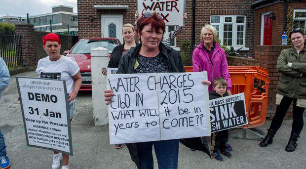 Water Protest on Parnell Road, Harold's Cross. Joan Collins TD.