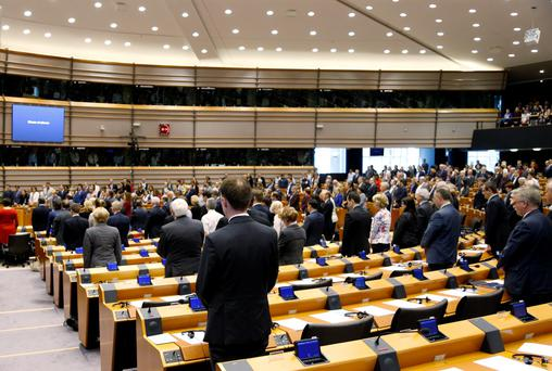 Members of the European Parliament observed a minute of silence to commemorate the 100th anniversary of Armenian mass killings Credit: Francois Lenoir
