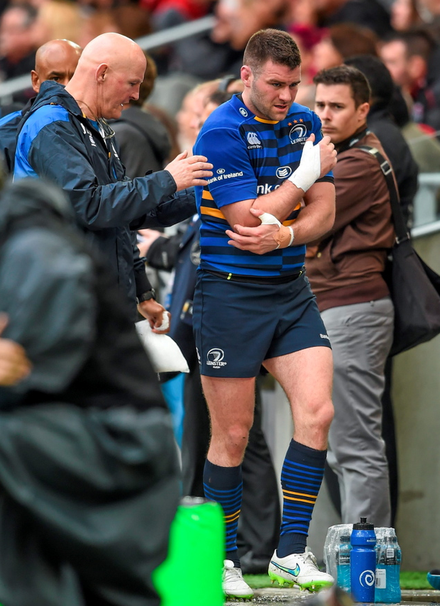 Fergus McFadden leaves the field with an arm injury.