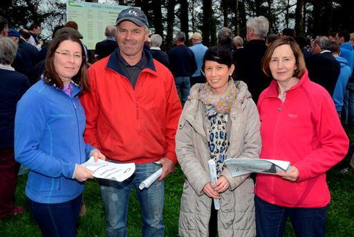 Pictured at the recent Teagasc/Carbery joint programme farm walk at Shinagh Farm Bandon Co Cork were: Vannesa O'Connor, Upton Charles Dullea, Clonakilty, Leighann Tobin, Bandon Co-Op and Ann Keohane, Innishannon. Photo: Denis Boyle