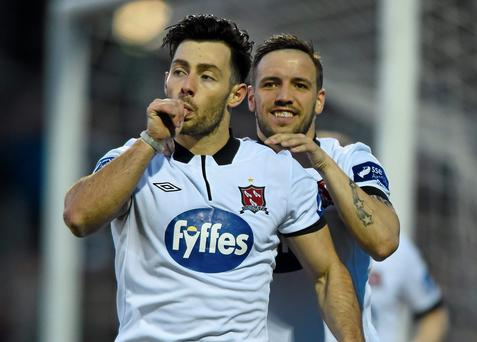 Dundalk's Richie Towell celebrates with Darren Meenan after opening the scoring
