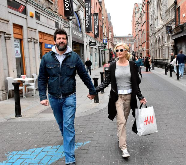 Yvonne Keating and her new man John Conroy spotted enjoying a shopping trip at the Powerscourt Shopping Centre