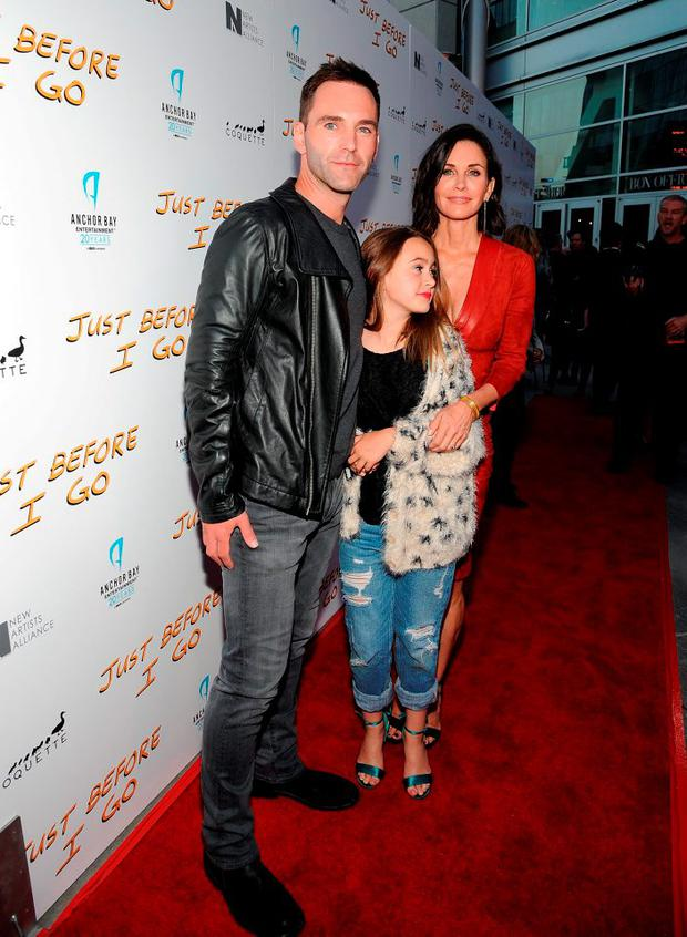 Director Courteney Cox (R), daughter Coco Arquette and musician Johnny McDaid attend the Los Angeles Special Screening of