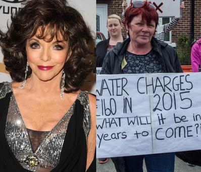 Actress Joan Collins (left) and politician Joan Collins (right)