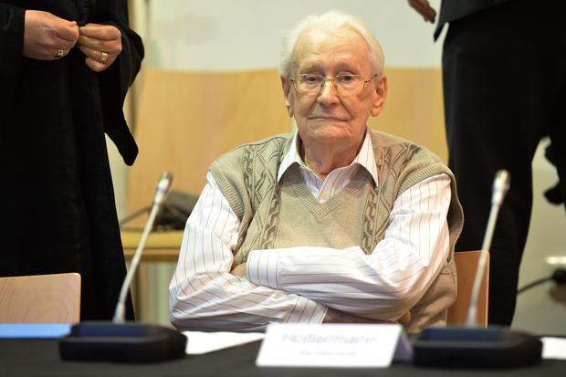 Defendant Oskar Groening sits on the dock of the court in Lueneburg, northern Germany. (Julian Stratenschulte/Pool Photo via AP)
