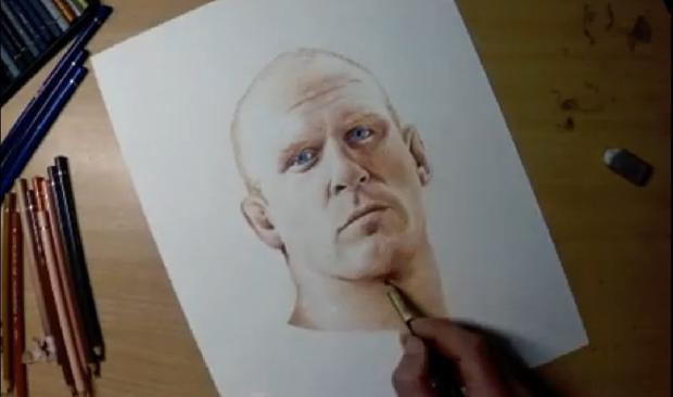 Dave Duffy draws a Paul O'Connell portrait