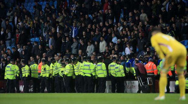 Police: Stand in front of the West Brom fans at Villa Park