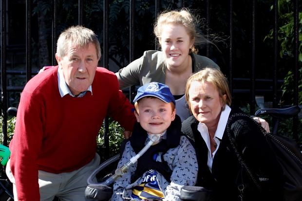 Matthew McGrath leaving court with his family today