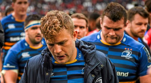 A dejected Ian Madigan, Leinster, leaves the pitch after his side's defeat on Sunday