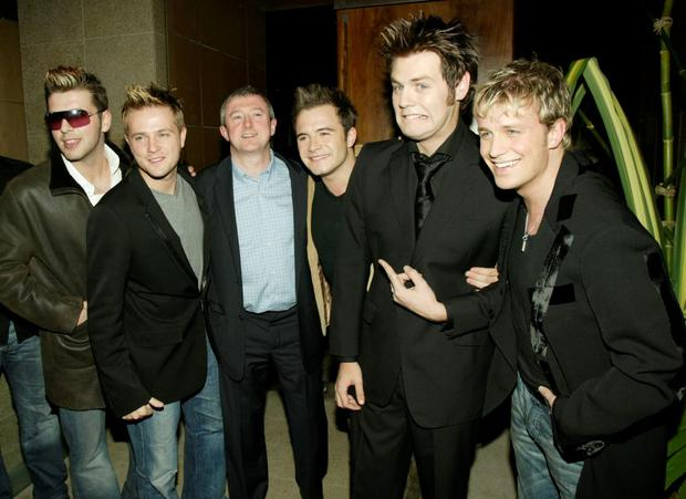 Irish pop stars (L-R) Mark Feehily, Nicky Byrne, Shane Filan, Bryan McFadden, Kian Egan of the pop group