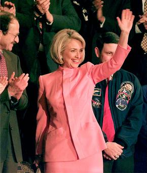 The First Lady channelling Jackie Kennedy in pink in 1998.