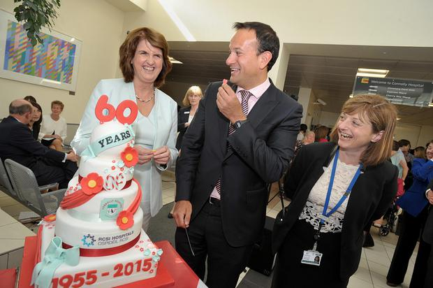 Tanaiste and Minister for Social Protection, Joan Burton, Minister for Health, Leo Varadkar, and Hospital Manager Mairead Lyons. Photo: Tommy Clancy