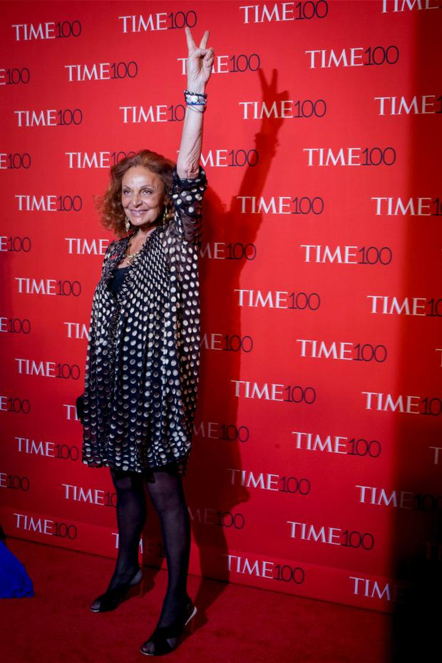 Designer Diane von Furstenberg arrives for the TIME 100 Gala in New York. Reuters/Brendan McDermid