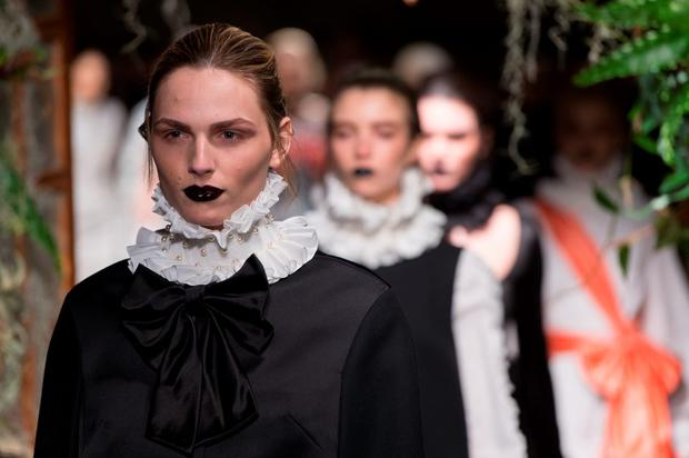 Andreja Pejic walks the runway at the GILES show during London Fashion Week Fall/Winter 2015/16 at Central Saint Martins on February 23, 2015 in London, England. (Photo by Ian Gavan/Getty Images)