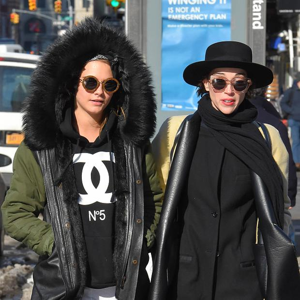 Cara Delevingne and rumoured girlfriend musician St. Vincent seen out in Soho on March 02, 2015 in New York, New York. (Photo by Josiah Kamau/BuzzFoto via Getty Images)