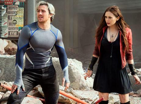 Aaron Taylor Johnson and Elizabeth Olsen as Quicksilver and Scarlet Witch in Avengers: Age of Ultron