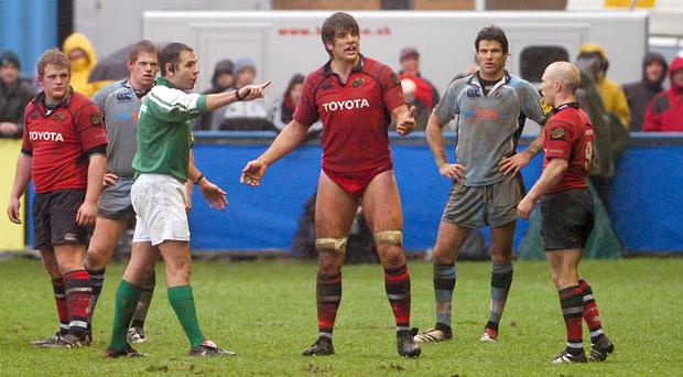 Munster's Donnacha O'Callaghan is told to get a new pair of shorts by referee Christophe Bedros after losing his in a ruck against Cardiff in 2006