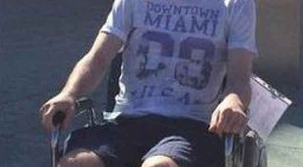 On Tuesday night, the 6ft 3in 26-year-old posted a photograph of himself on Twitter, enjoying a bit of sunshine as he sat in a wheelchair outside the Mater Hospital in Dublin earlier in the day