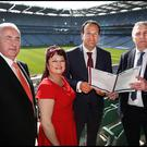 At the 3rd National Alcohol Forum Conference at Croke Park were the Alcohol Forum's Pat Harvey and Anne Timony Meehan, Minister Leo Varadkar, and Kieran Doherty of the Alcohol Forum. Photo: Steve Humphreys