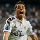 Football - Real Madrid v Atletico Madrid - UEFA Champions League Quarter Final Second Leg - Estadio Santiago Bernabeu, Madrid, Spain - 22/4/15 Javier Hernandez celebrates after scoring the first goal for Real Madrid Reuters / Juan Medina Livepic